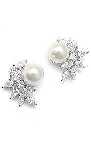 Cubic Zirconia and Pearl Crescent Earrings