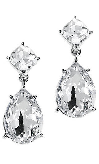 Clear Crystal and Silver Rhodium Drop Earrings