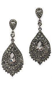 Pave Crystal Pear Shaped Drop Earrings