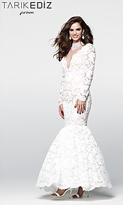 Lace Illusion V-Neck Prom Dress with Long Sleeves
