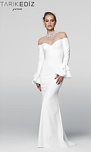 Illusion Off the Shoulder Prom Dress with Long Sleeves