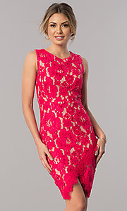 Image of short red lace party dress with asymmetrical hem. Style: JX-1ZSS198Q Front Image
