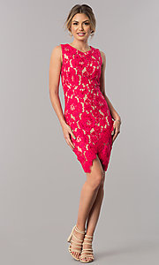 Image of short red lace party dress with asymmetrical hem. Style: JX-1ZSS198Q Detail Image 1