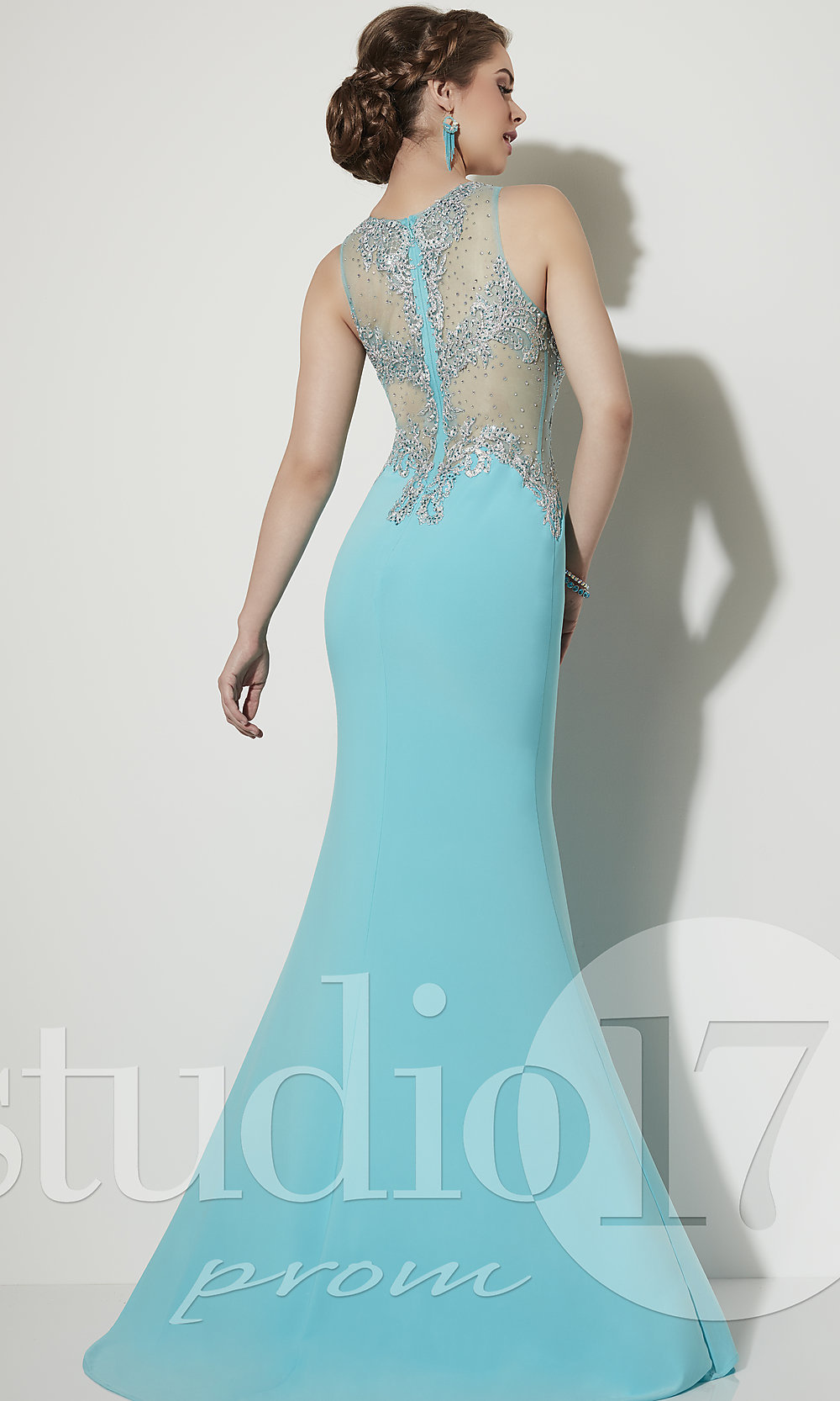 d60a946515d Long Prom Dress with Illusion Beaded Bodice by Studio