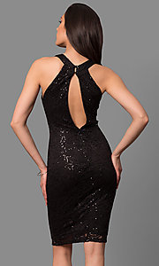 Image of high-neck knee-length party dress in sequined lace. Style: MB-7153 Back Image
