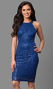 Image of high-neck knee-length party dress in sequined lace. Style: MB-7153 Front Image