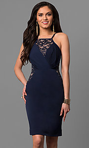 Semi-Formal Square-Neck Party Dress with Lace Insets