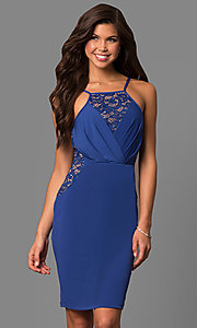 Image of semi-formal square-neck party dress with lace insets. Style: MB-7151 Detail Image 2