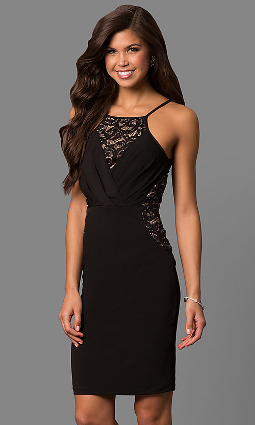 Image of semi-formal square-neck party dress with lace insets. Style: MB-7151 Detail Image 1