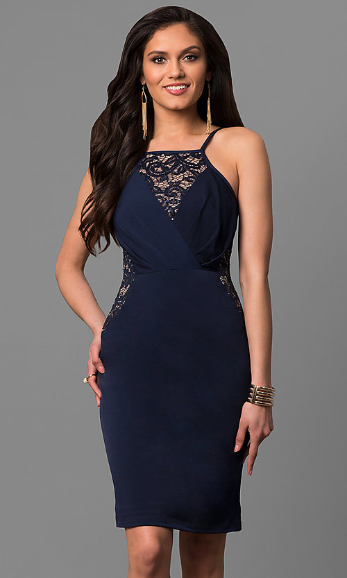 Image of semi-formal square-neck party dress with lace insets. Style: MB-7151 Front Image