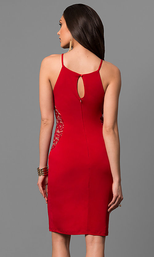 Image of semi-formal square-neck party dress with lace insets. Style: MB-7151 Back Image