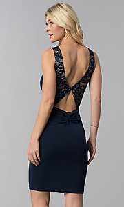 Image of short party dress with lace inset and back cut out. Style: MB-7152 Back Image