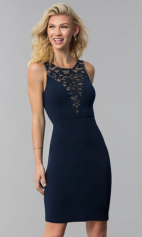 Image of short party dress with lace inset and back cut out. Style: MB-7152 Front Image