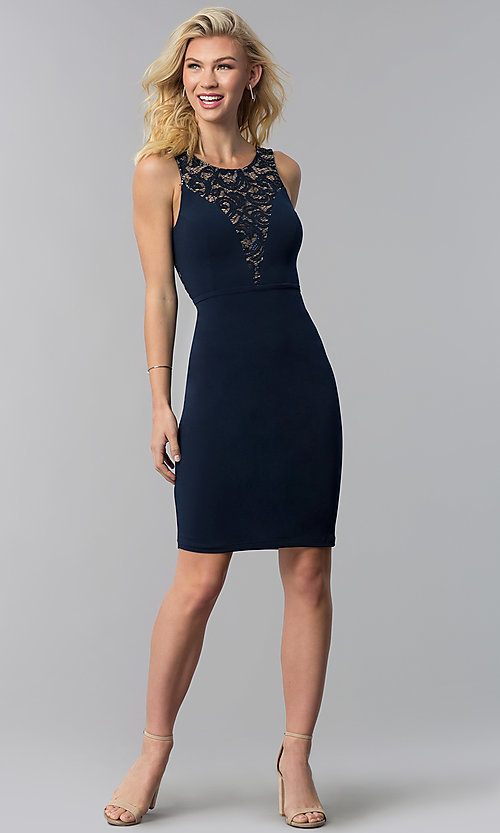 Image of short party dress with lace inset and back cut out. Style: MB-7152 Detail Image 1