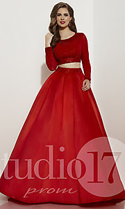Two-Piece Long-Sleeve Prom Dress by Studio 17