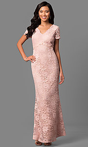 Lace V-Neck Long Mother-of-the-Bride Dress