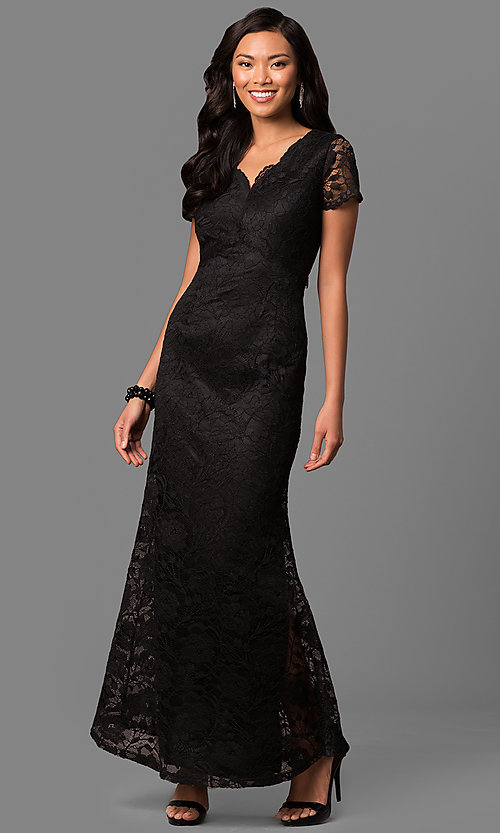 Image of lace long mother-of-the-bride dress with sleeves. Style: ET-ESHMP273 Front Image