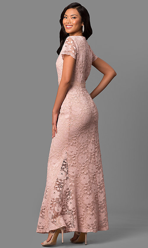 Image of lace long mother-of-the-bride dress with sleeves. Style: ET-ESHMP273 Back Image