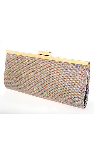 Nude Metallic Weave Clutch