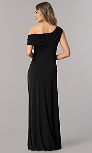 Image of mother-of-the-bride dress with asymmetrical neckline. Style: ET-ESJMJ826 Back Image