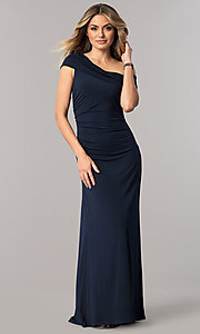 Image of mother-of-the-bride dress with asymmetrical neckline. Style: ET-ESJMJ826 Detail Image 2