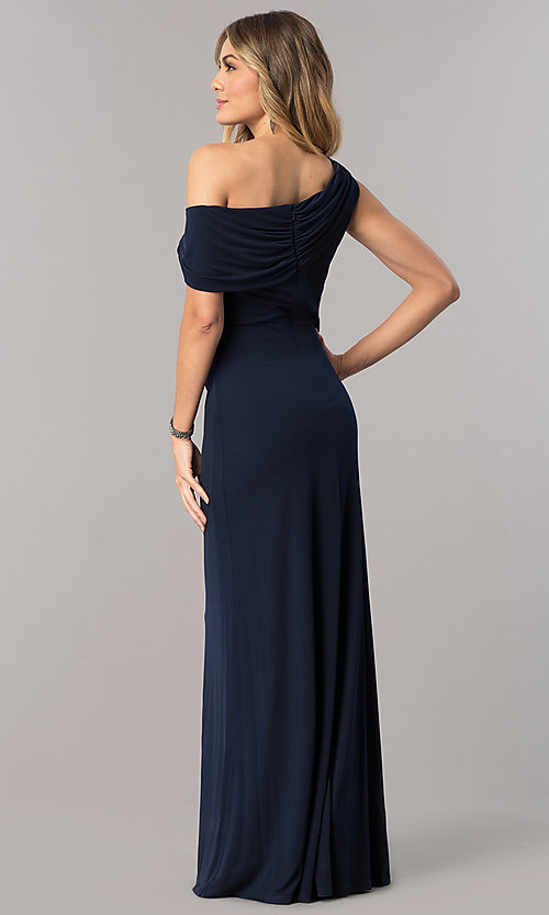 Image of mother-of-the-bride dress with asymmetrical neckline. Style: ET-ESJMJ826 Detail Image 3