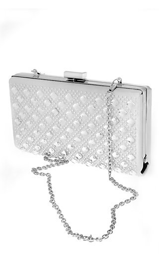 Metallic Silver Beaded Clutch with Chain Strap