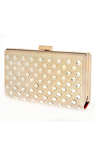 Metallic Nude Beaded Clutch with Chain Strap
