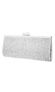 Silver Metallic Clutch with Beading