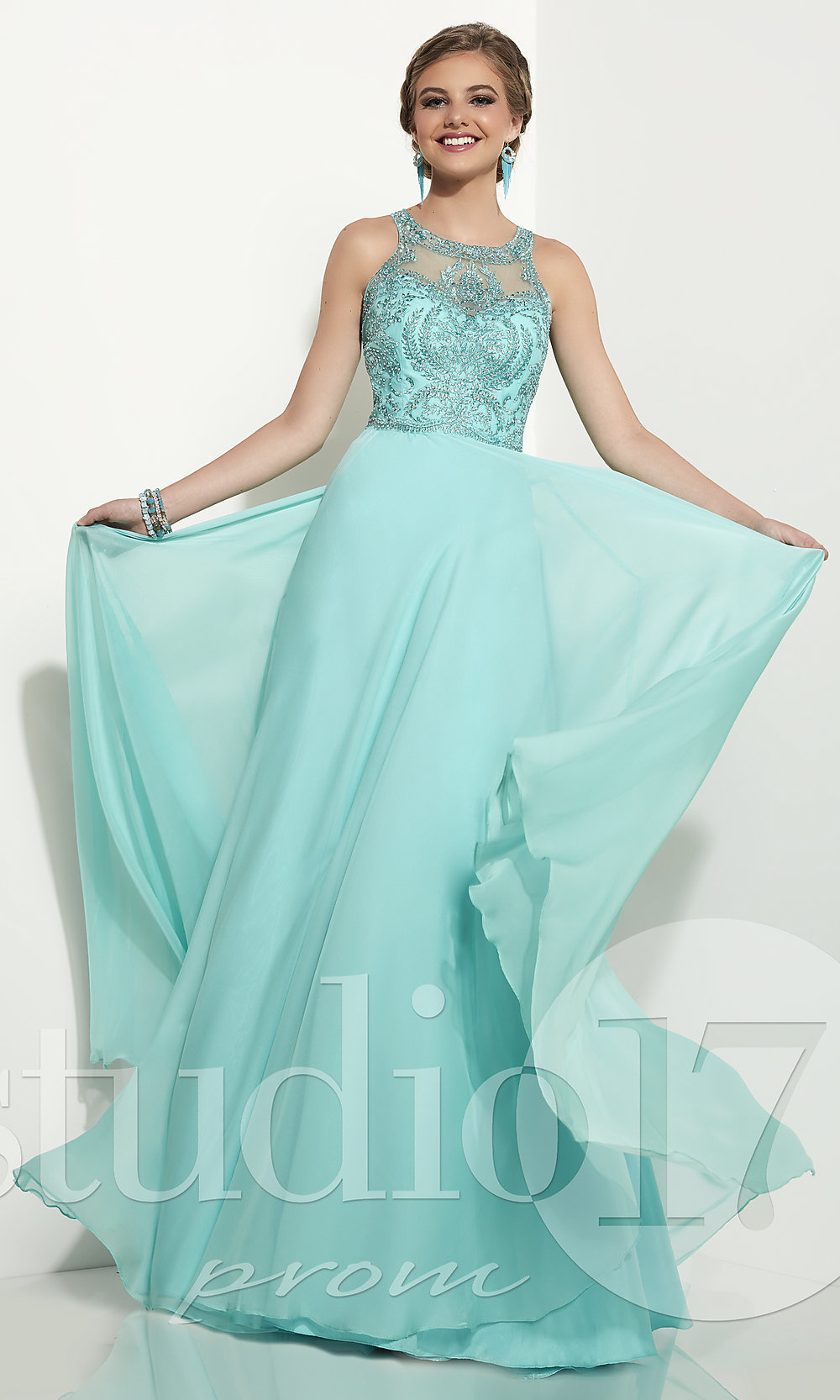 8fb52c43bde Long Prom Dress by Studio 17 with Rhinestone Accented