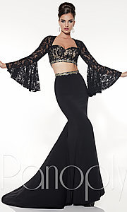 Two-Piece Prom Dress with Bell Sleeves