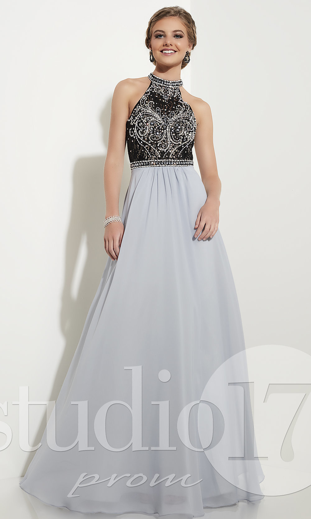 6e9656261d7 Long Prom Dress with Lace Beaded Bodice by Studio 17