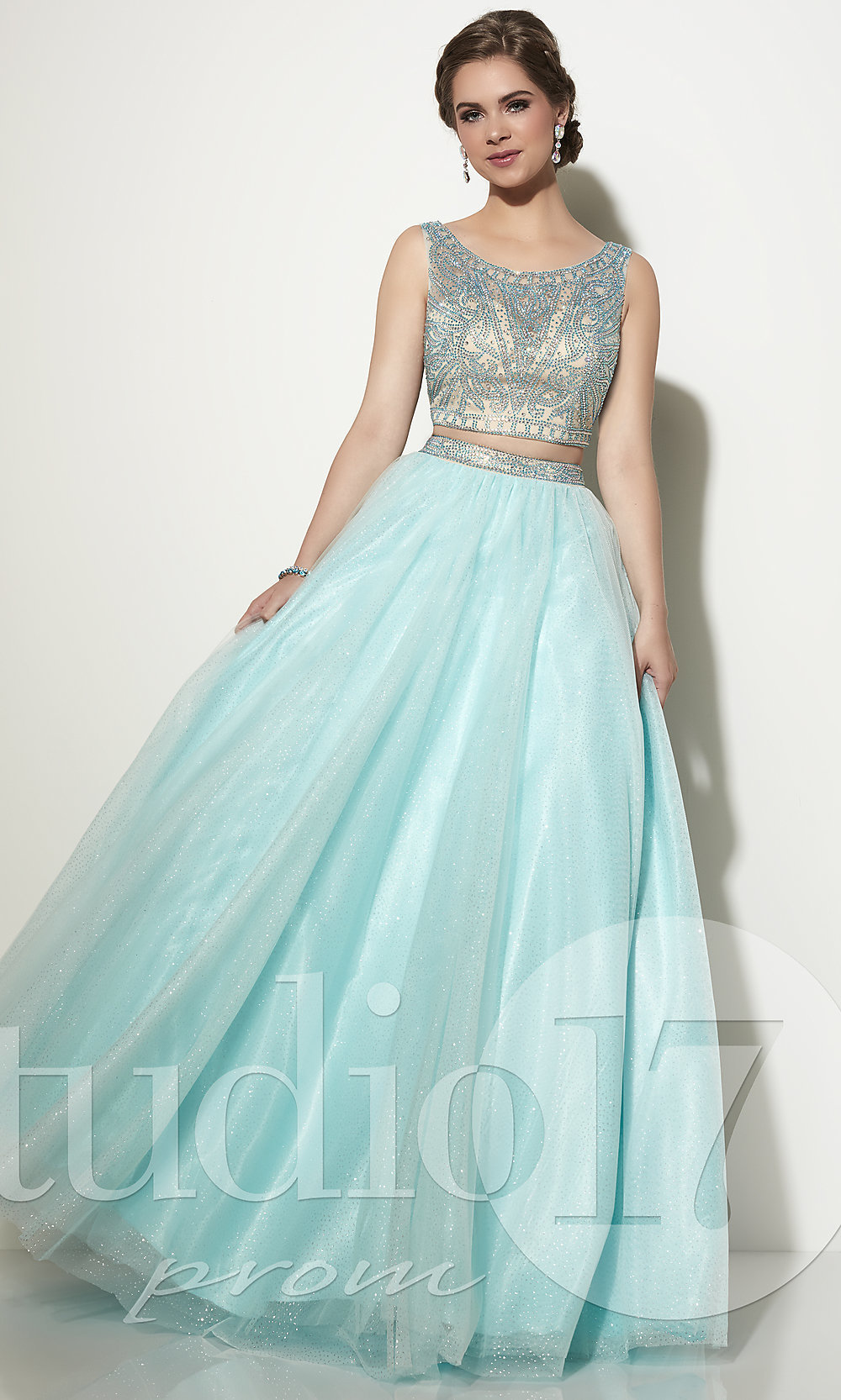cb1273c029f Two-Piece Long Prom Dress by Studio 17 with Beaded