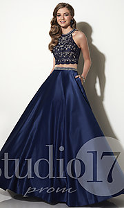 Two-Piece Long Studio 17 Prom Dress with Lace Top