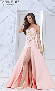 Long Plunging Strapless Sweetheart Prom Dress