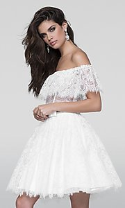 Short Two Piece Lace Off the Shoulder Prom Dress