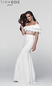 Two Piece Prom Dress with a Ruffled Blousant Top