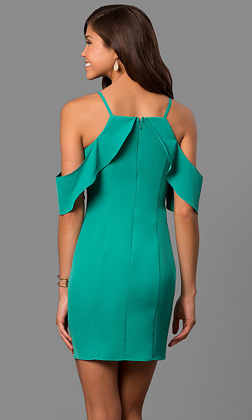 Image of short green cold-shoulder party dress with ruffles. Style: MT-8463 Back Image