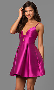 Image of violet pink taffeta short party dress with deep v-neck. Style: MT-8340 Front Image