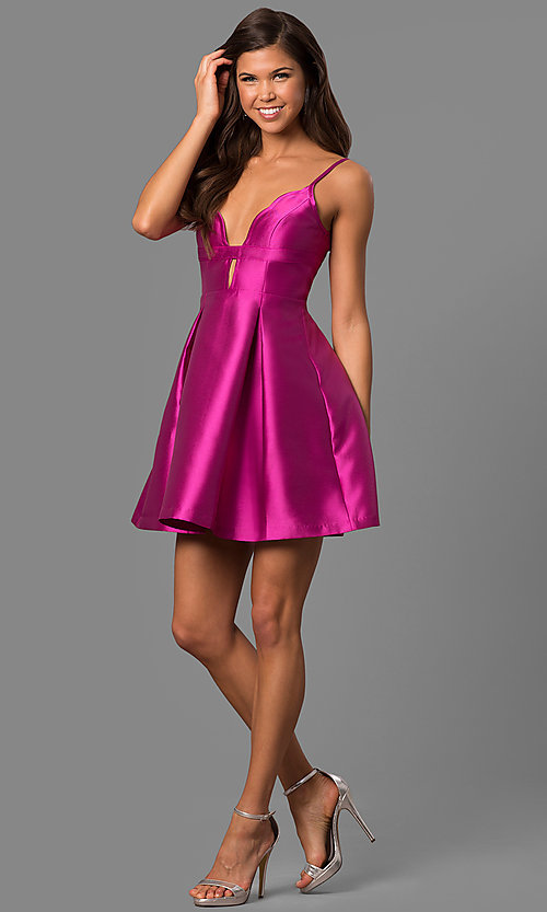 Image of violet pink taffeta short party dress with deep v-neck. Style: MT-8340 Detail Image 1