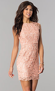 Image of short lace empire-waist party dress in mauve pink. Style: MT-8647 Front Image
