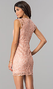 Image of short lace empire-waist party dress in mauve pink. Style: MT-8647 Back Image