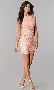 Image of short lace empire-waist party dress in mauve pink. Style: MT-8647 Detail Image 1