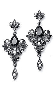 Black Vintage Earrings with Cubic Zirconia