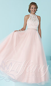 Long Prom Dress with Lace Bodice and Tulle Skirt