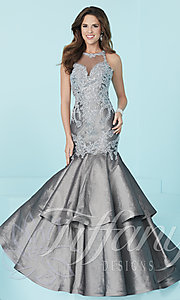 Long Mermaid Prom Dress by Tiffany with Lace Applique Bodice