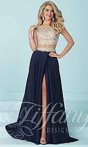 Two-Piece Long Prom Dress by Tiffany with Beaded Illusion Top