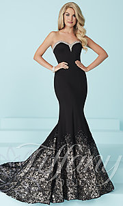 Long Strapless Prom Dress with Lace Accented Mermaid Skirt