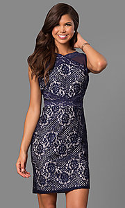 Short Lace Party Dress with High Neckline
