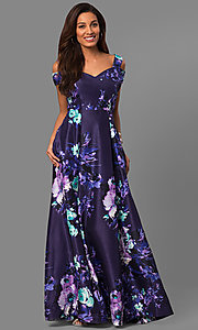 Long Purple Print Formal Prom Dress with Pockets